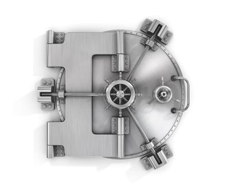 De metalen bankkluis deur op een witte achtergrond geïsoleerd op wit