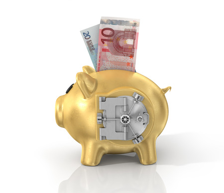 dial lock: Safe door on the side of gold piggy bank.