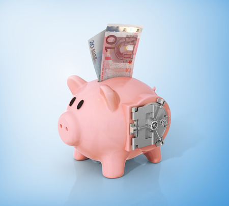 financial security: Safe door on the side of piggy bank. Stock Photo