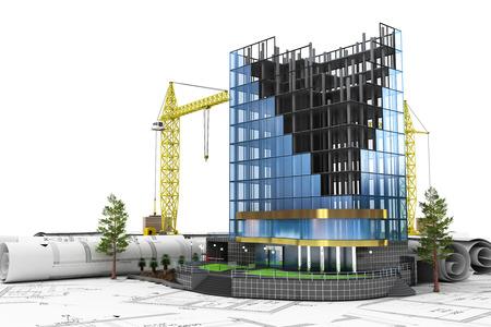 Abstracte 3d ontwikkelingsconcept te bouwen. Kantoorgebouw in proces van de bouw.