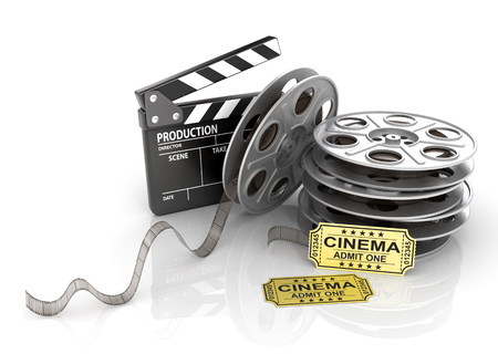 film: Film Reels, tickets and clapper board.
