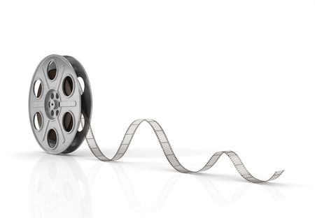 film editing: Film reels on a white background.