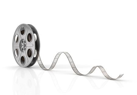 Spoelen van de film op een witte achtergrond.