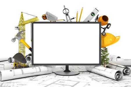 hormig�n: La pantalla de la PC con el objeto para la construcci�n. Modelos y casco de seguridad sobre una mesa en el sitio de construcci�n. Foto de archivo