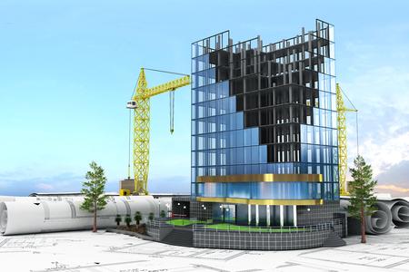 Abstract 3d de la construction concept de développement. Immeuble de bureaux en cours de construction. Banque d'images