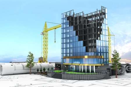 steel building: Abstract 3d of building development concept. Office building in process of construction.