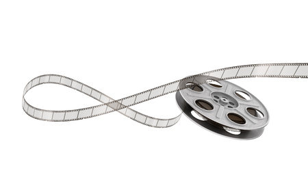 film industry: Film reels on a white background.
