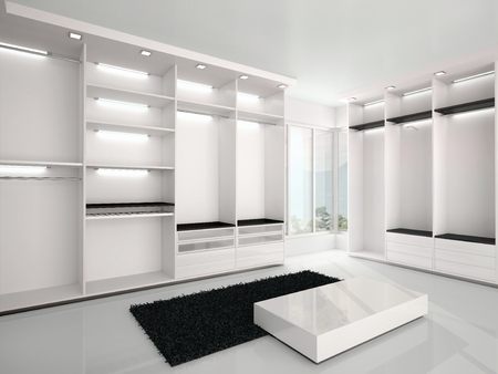 new homes: 3d illustration of luxurious white wardrobe in a modern style Stock Photo