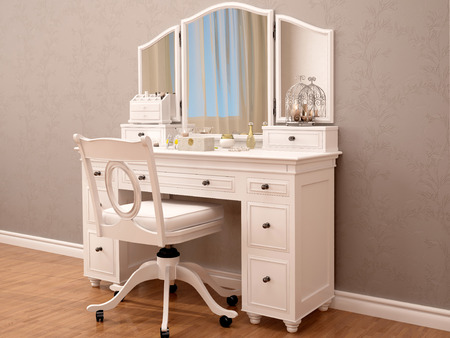 3D Illustration Of White Toilety Table With Mirror