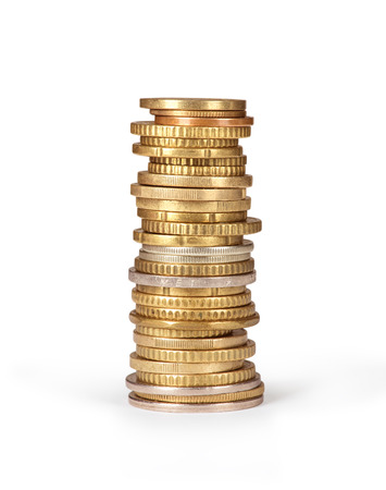 coin stack: Stack of coins isolated