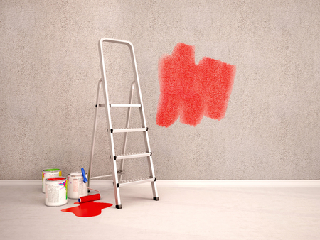plinth: 3D Illustration Of Paint The Walls In Red Color