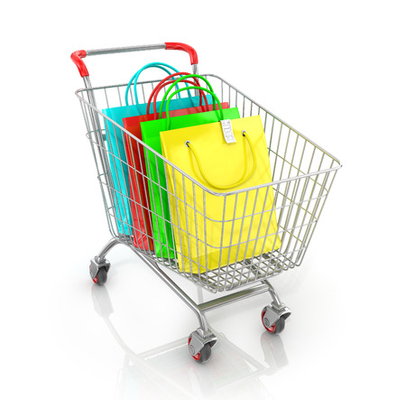 delinquent: Supermarket trolley with colored paper bag and check on a white background.