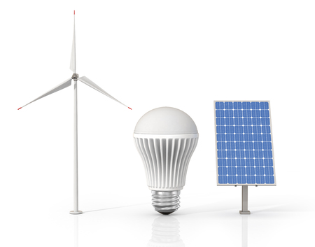 led light bulb: Concept of green energy. Wind tower, LED light bulb and solar energy panel isolated on a white background. Stock Photo