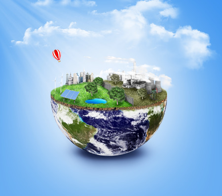 Eco Friendly, green energy concept. Solar energy town, wind energy. Dirty city, factories, air pollution, landfill. Atomic plants. Save the planet concept. Earth Day.