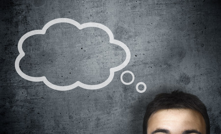 men ideas: man with a empty speech bubble over his head