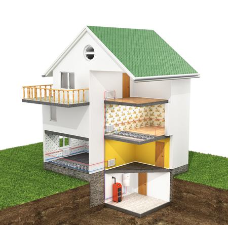 sectional door: Scheme heating in the house