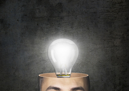 normal school: man with a light bulb over his head