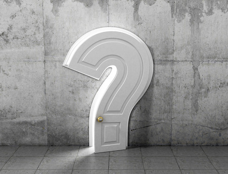 concrete form: Concept of answer to the question. The opened door in form of question sign in concrete wall. Abstract concept. Stock Photo
