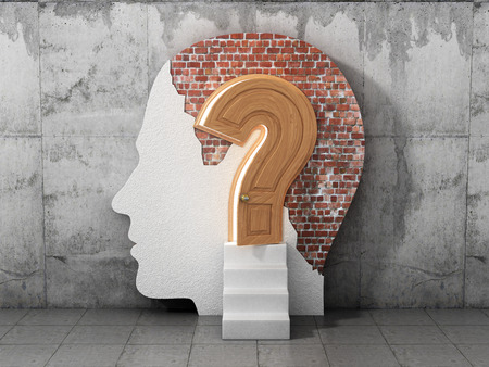 room door: Concept lot of answers to the question. The opened doors in form of question sign in human head. Abstract. What is being done in your head. Stock Photo