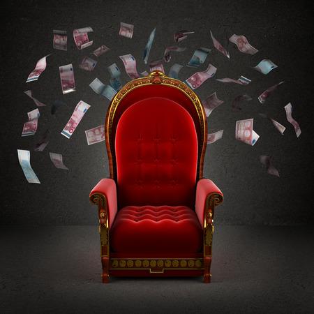 떨어지는 유로 지폐로 방에있는 왕좌 스톡 콘텐츠