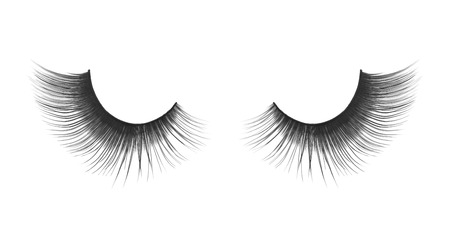 fake eyelashes: thick and long false eyelashes on an isolated white background Stock Photo
