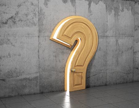 質問への答えの概念。質問の形で開かれたドアはコンクリートの壁にサインインします。抽象的な概念。