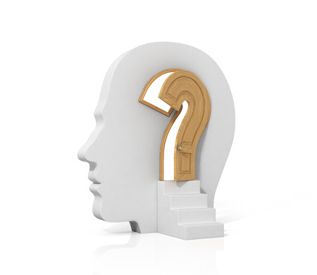 Concept lot of answers to the question. The opened doors in form of question sign in human head. Abstract. What is being done in your head. Imagens