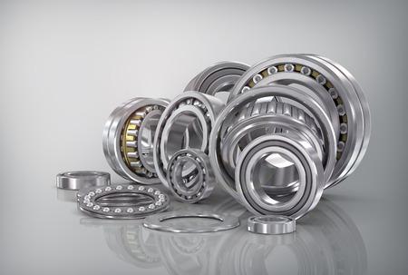 bearings: Set of steel ball bearings in closeup. Stock Photo