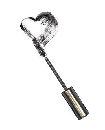 Black mascara brush stroke isolated on white