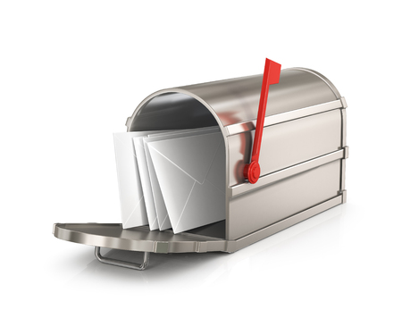buzon: Buzón abierto con letras aisladas sobre fondo blanco Foto de archivo