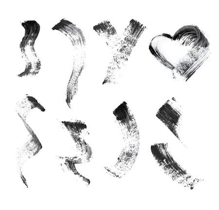 abstract grunge background: Mascara brush stroke set