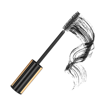 touch base: close up of black mascara on white background