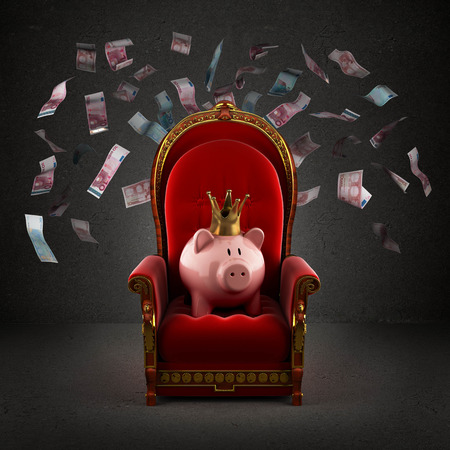 Moneybox pig in crown on the royal throne in the room with falling euro banknotes Stock Photo