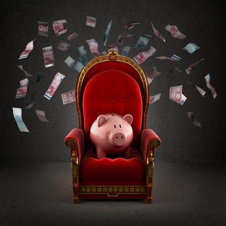 wealth: Moneybox pig on the royal throne in the room with falling euro banknotes