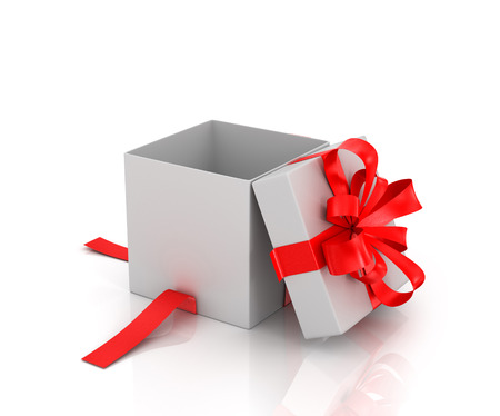 christmas carols: Open white gift-box with red ribbon on a white background.