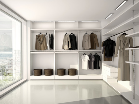 明るく、モダンで快適な服の 3 D イラストレーション