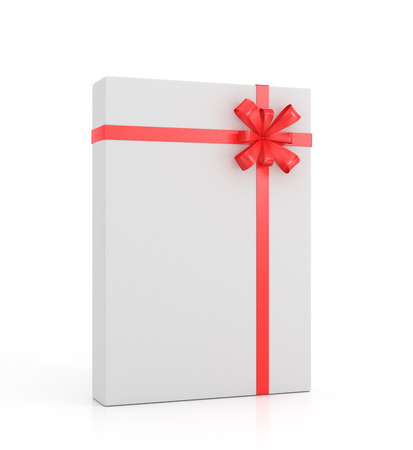 christmas carols: White gift with red ribbon and bow on a white background. Stock Photo