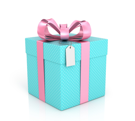 Blue gift with red ribbon, bow and tag on a white background.