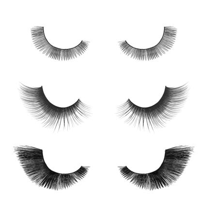 fake eyelashes: collection close up false eyelashes on an isolated white background