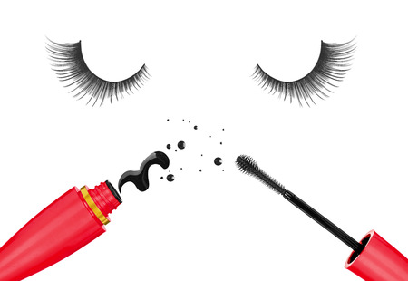 touch base: false eyelashes and mascara in the red tube isolated on white background