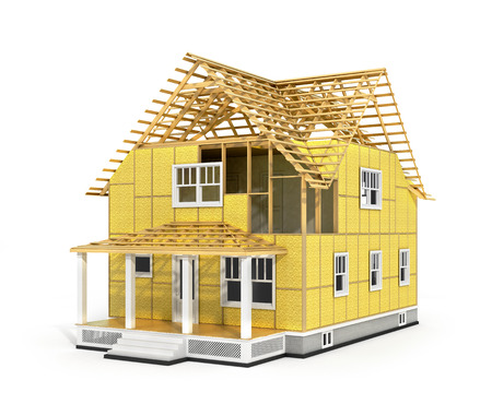 subflooring: 3d render of house in construction process. We see constituents of roof frame and insulation layer.