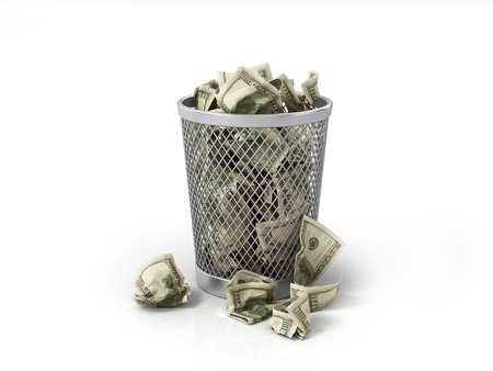 old container: Money in basket. Isolated over white