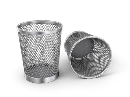 recolector de basura: Vaciar la papelera de reciclaje aisladas sobre fondo blanco