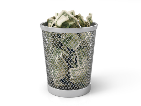 needless: Money in basket. Isolated over white