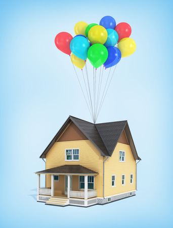 3d render of house flying in the balloons on a blue background.