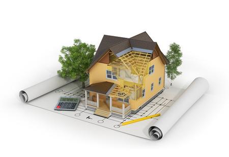 3D render van een huis in de bouw van proces met bomen, rekenmachine en potlood op de blauwdruk.