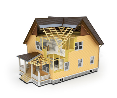 subflooring: 3d render of house in construction process.
