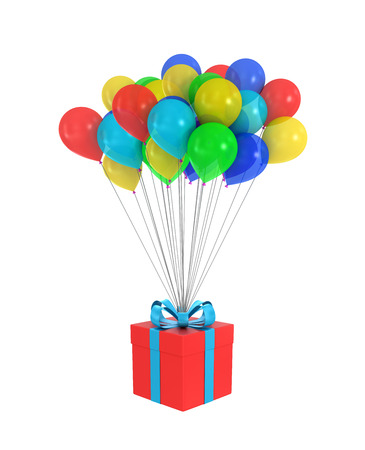 text 3d: Red Gift Box with a bow and balloons on a white background