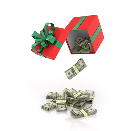 poured: Open Red Gift Box and bundles of dollars that poured out of it on a white background