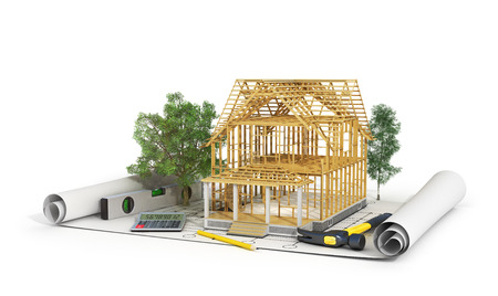 building: 3d render of house in building process with trees, calculator and pencil on the blueprint. Stock Photo